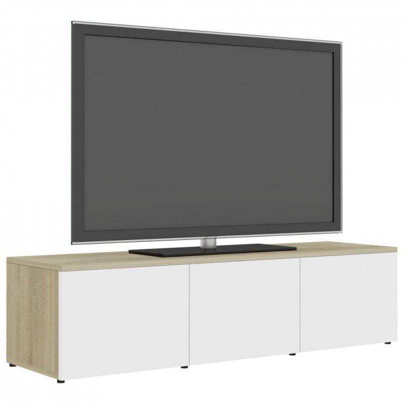 Szafka pod TV, biel i dąb sonoma, 120x34x30 cm, płyta wiórowa