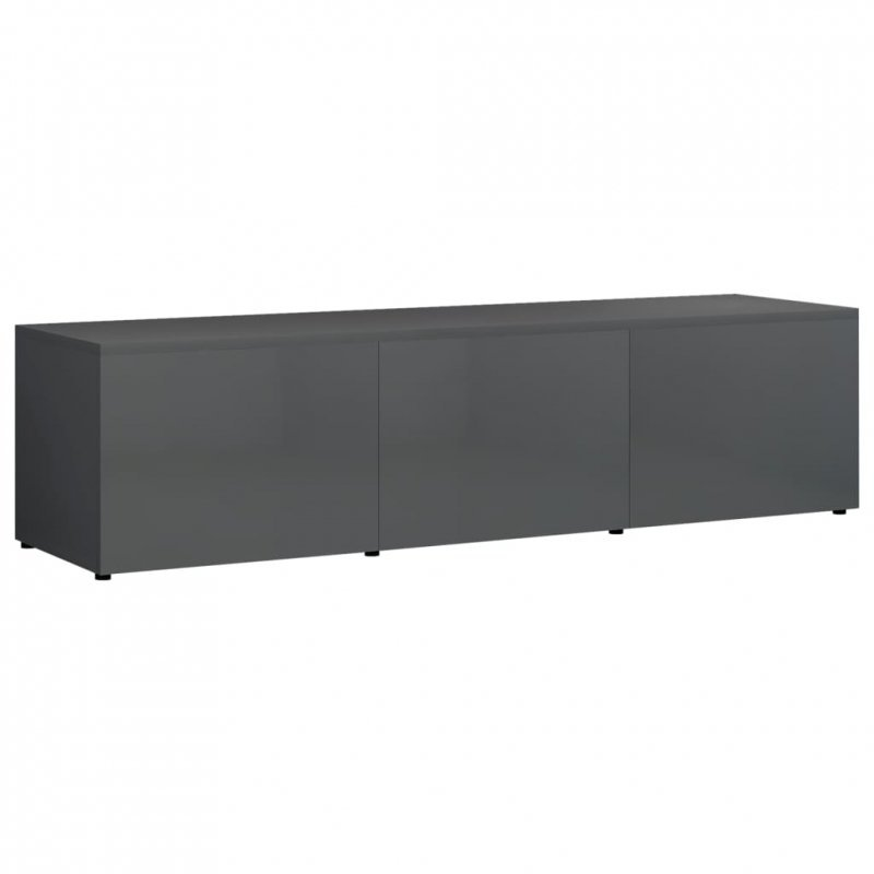 Szafka pod TV, szara, wysoki połysk 120x34x30 cm, płyta wiórowa