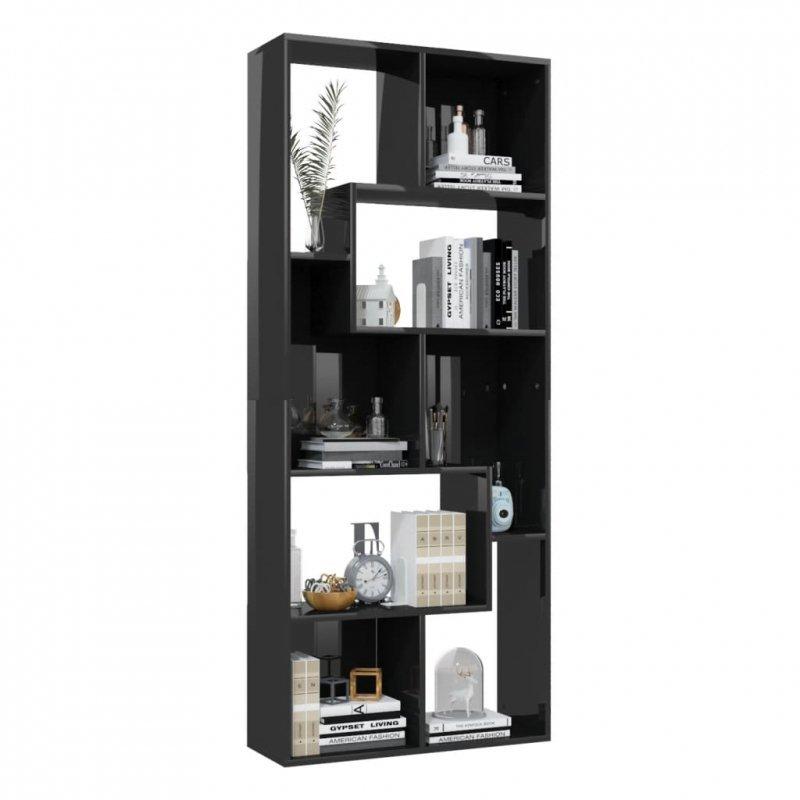 Regał, wysoki połysk, czarny, 67x24x161 cm, płyta wiórowa