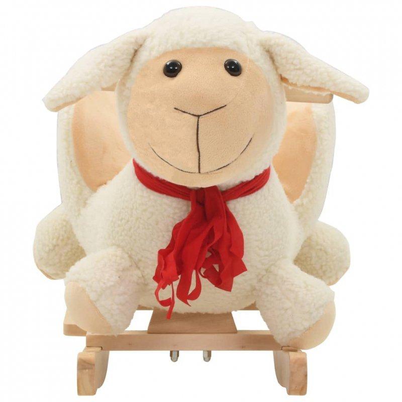 Owca na biegunach z oparciem, pluszowa, 60x32x50 cm, biała