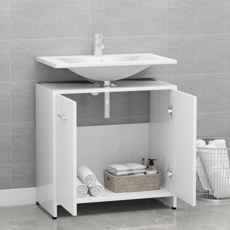 Szafka łazienkowa, biała, 60x33x58 cm, płyta wiórowa