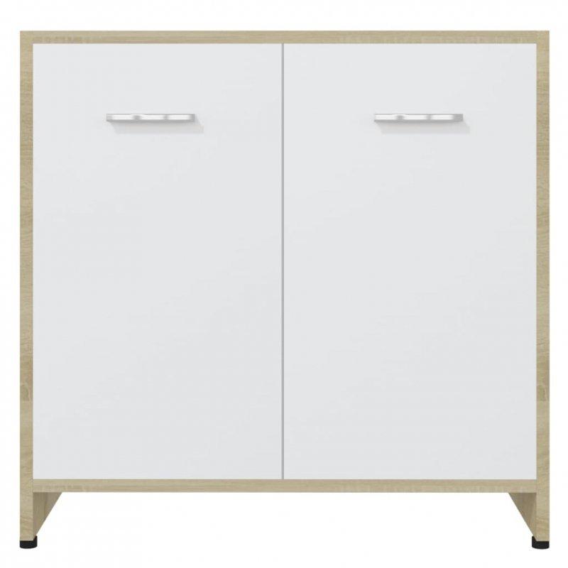 Szafka łazienkowa, biel i dąb sonoma, 60x33x58 cm, płyta