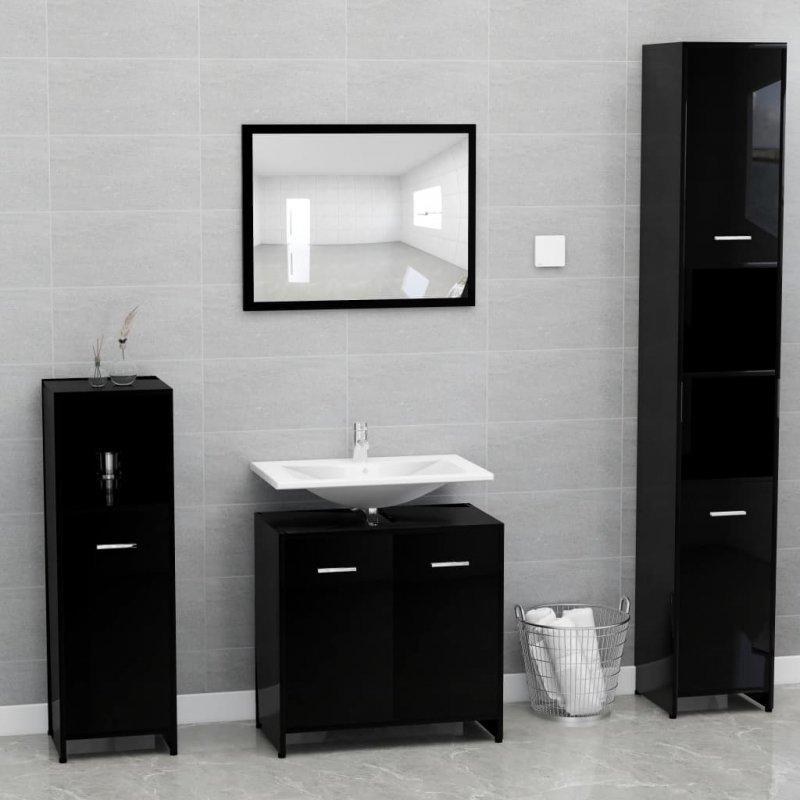 Zestaw mebli łazienkowych, wysoki połysk, czarny, płyta wiórowa