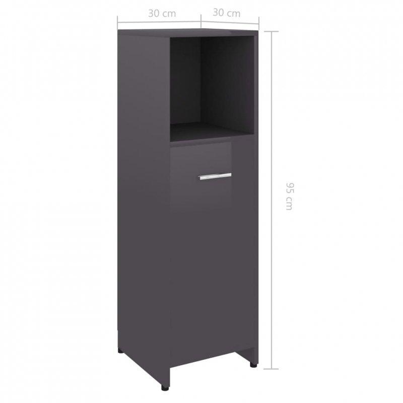 Szafka łazienkowa, szara, wysoki połysk, 30x30x95 cm, płyta