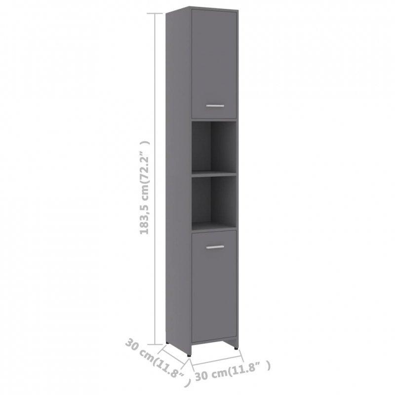 Szafka łazienkowa, szara, 30x30x183,5 cm, płyta wiórowa