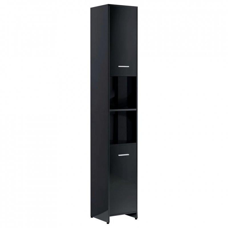 Szafka łazienkowa, czarna, wysoki połysk, 30x30x183,5 cm, płyta
