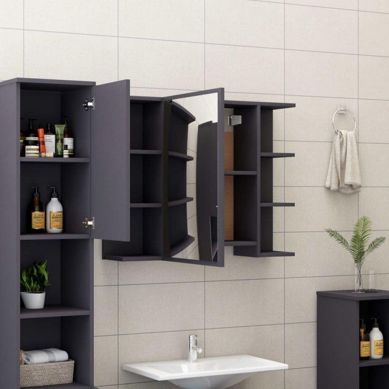 Szafka łazienkowa z lustrem, szara, 80 x 20,5 x 64 cm, płyta