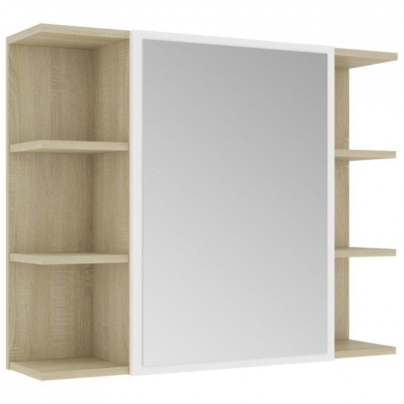 Szafka łazienkowa, biel i dąb sonoma, 80 x 20,5 x 64 cm, płyta