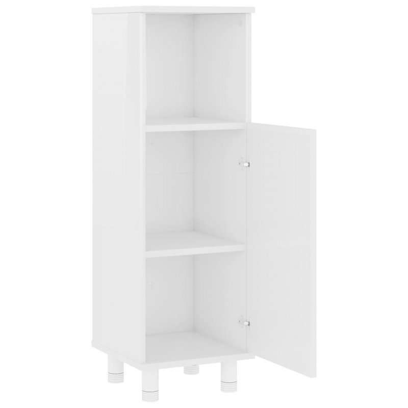 Szafka łazienkowa, wysoki połysk, biała, 30x30x95 cm, płyta