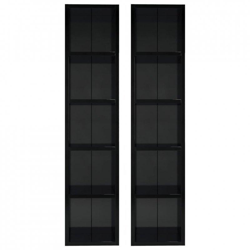 Szafki na płyty CD, 2 szt. wysoki połysk, czarne, 21x16x93,5 cm