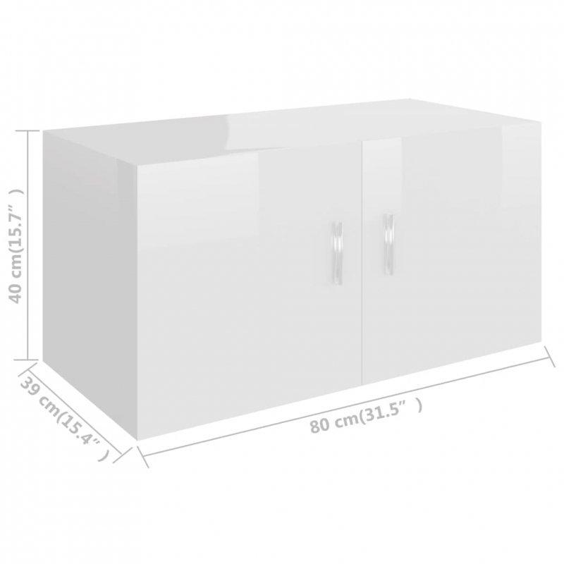 Szafka ścienna, wysoki połysk, biała, 80x39x40cm, płyta wiórowa