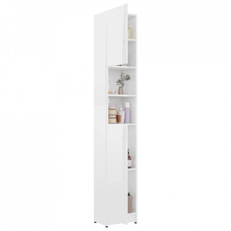 Szafka łazienkowa, biały z połyskiem, 32x25,5x190 cm, płyta