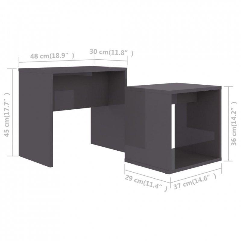 Zestaw stolików kawowych, szary o wysokim połysku, 48x30x45 cm