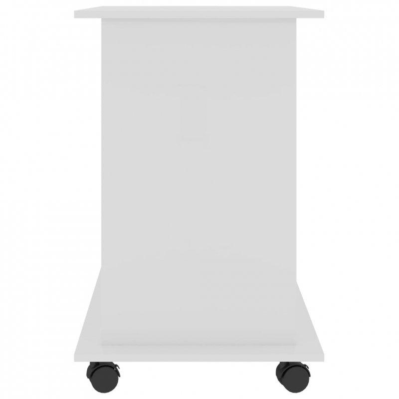 Biurko komputerowe, białe, wysoki połysk, 80x50x75 cm, płyta