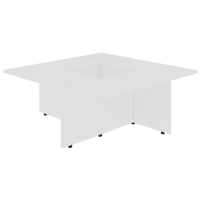 Stolik kawowy, biały, 79,5x79,5x30 cm, płyta wiórowa