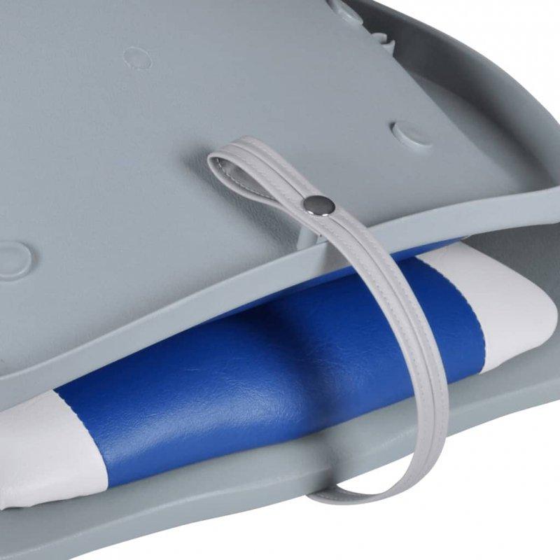 Składany fotel na łódź, biało-niebieski z poduszką, 41x51x48 cm