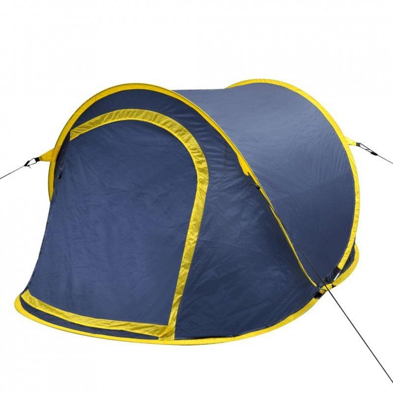 Namiot typu pop-up, 2-osobowy, granatowy/żółty