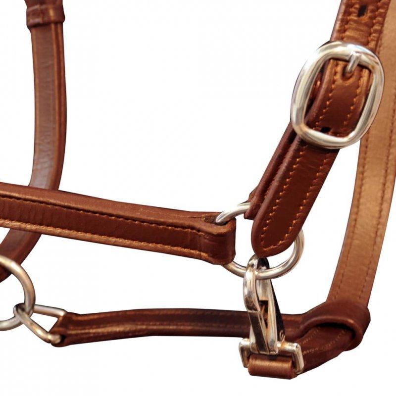 Uprząż na głowę konia z prawdziwej skóry, regulowana, brązowa