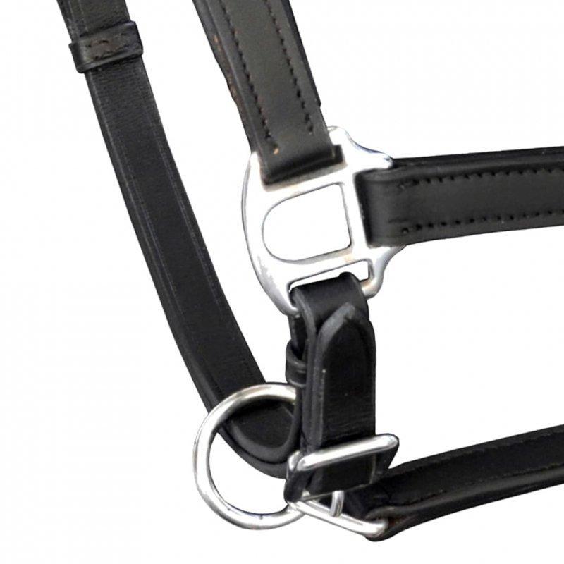 Uprząż na głowę konia z prawdziwej skóry, regulowana, czarna