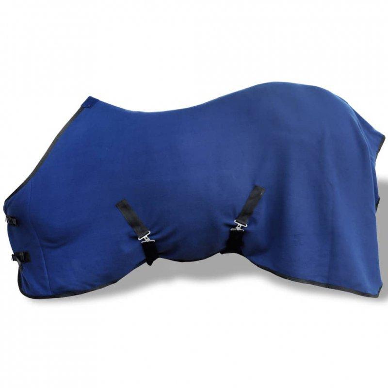 Polarowa derka z zapięciami, 115 cm, niebieska