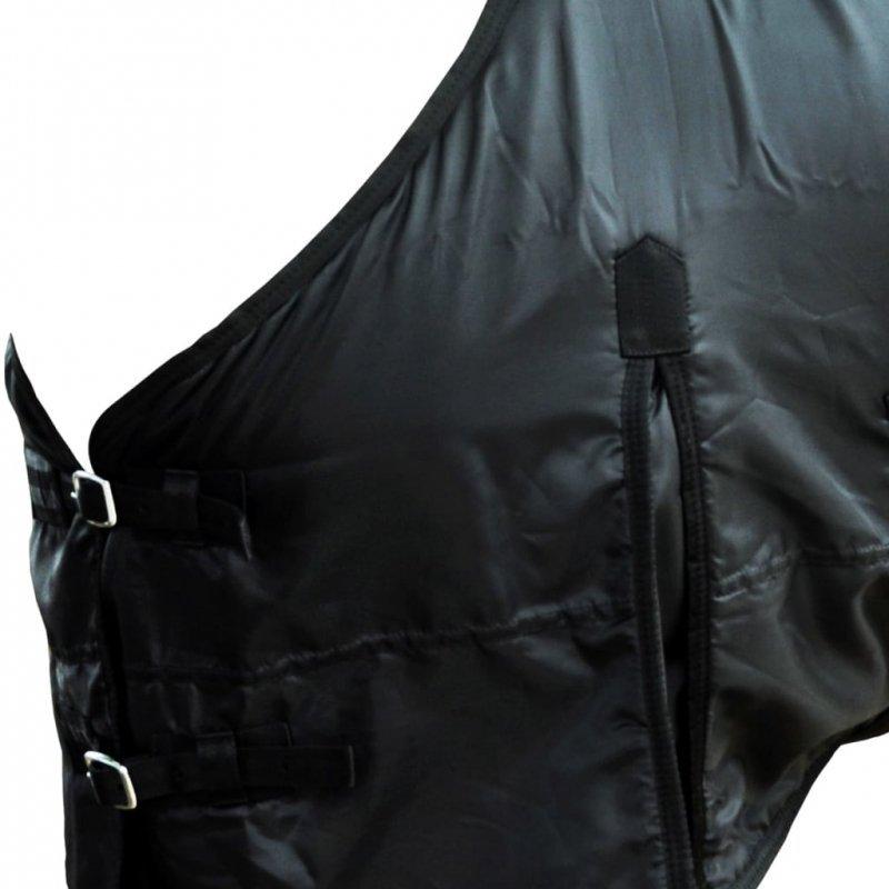 Dwuwarstwowa, polarowa derka z zapięciami, 105 cm, czarna