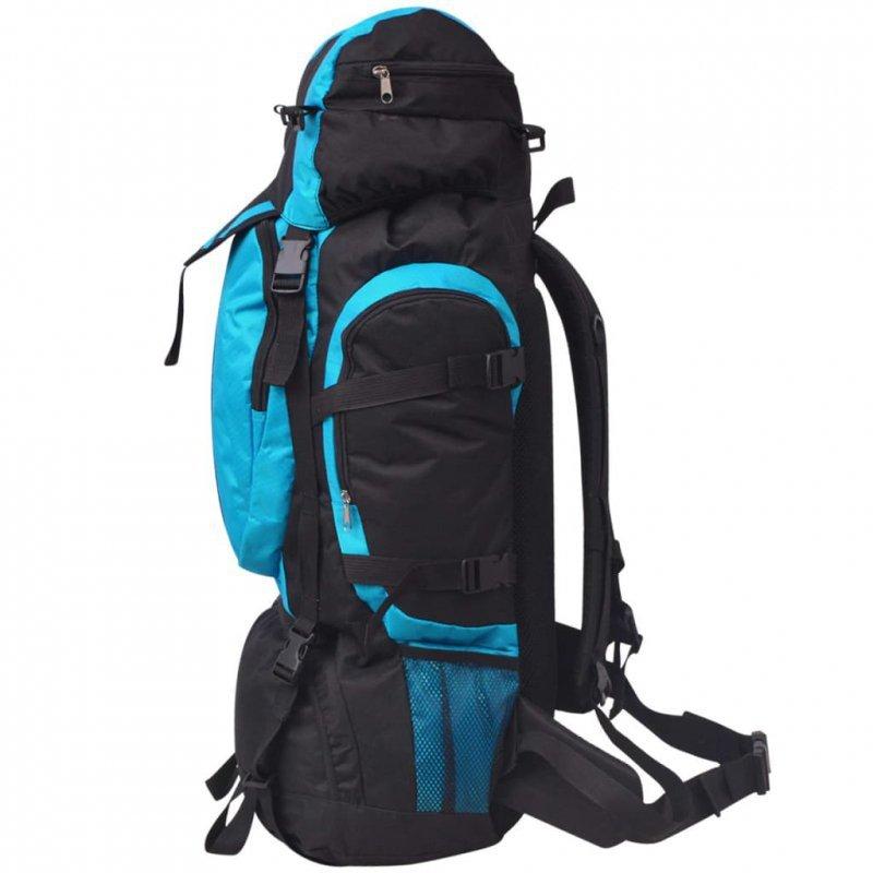 Plecak turystyczny XXL, 75 L, czarno-niebieski