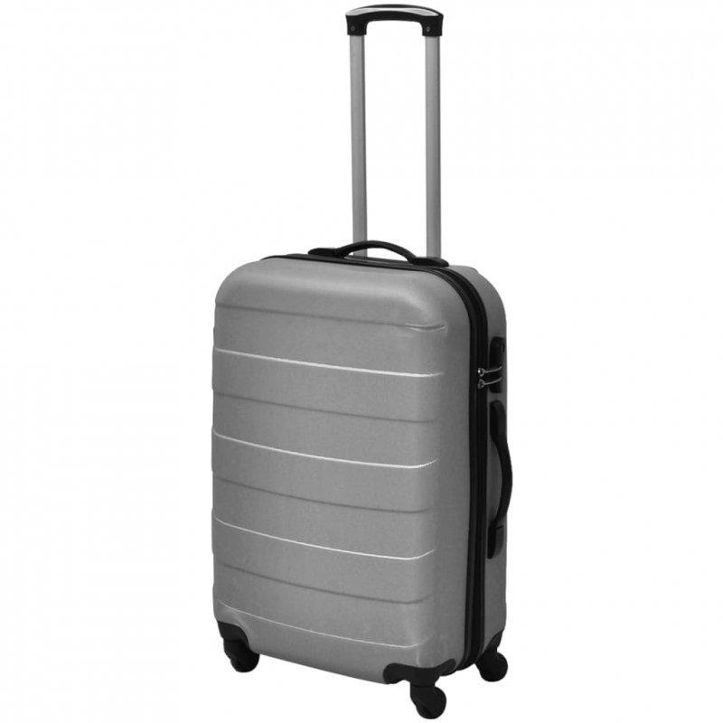 3 Walizki podróżne z twardą obudową na kółkach srebrne