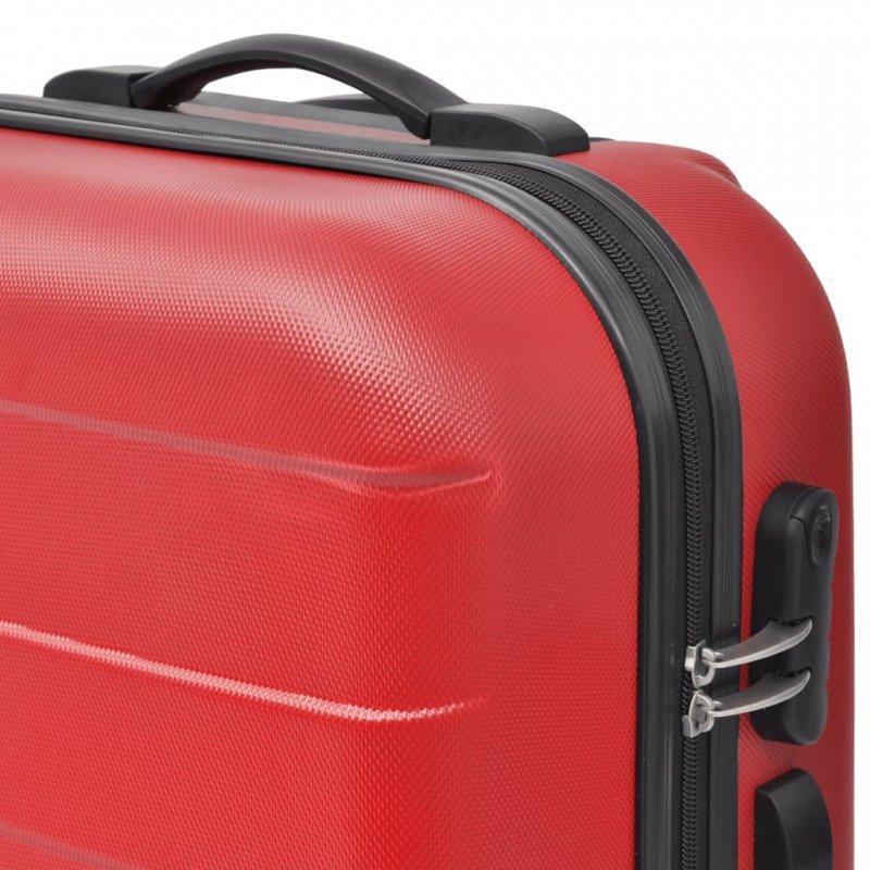 3 Walizki podróżne z twardą obudową na kółkach czerwone