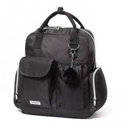 1448 Plecak dla mamy -Torba do wózka POM POM czarna