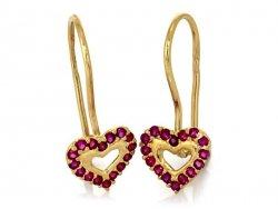 Kolczyki Czerwone serca złoto 585 14cT