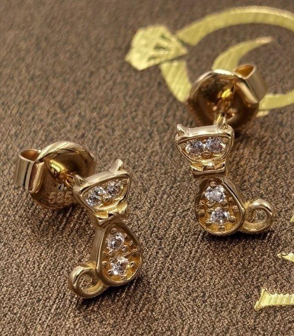 Kolczyki KOTECZKI diamentowe ZŁOTO 585