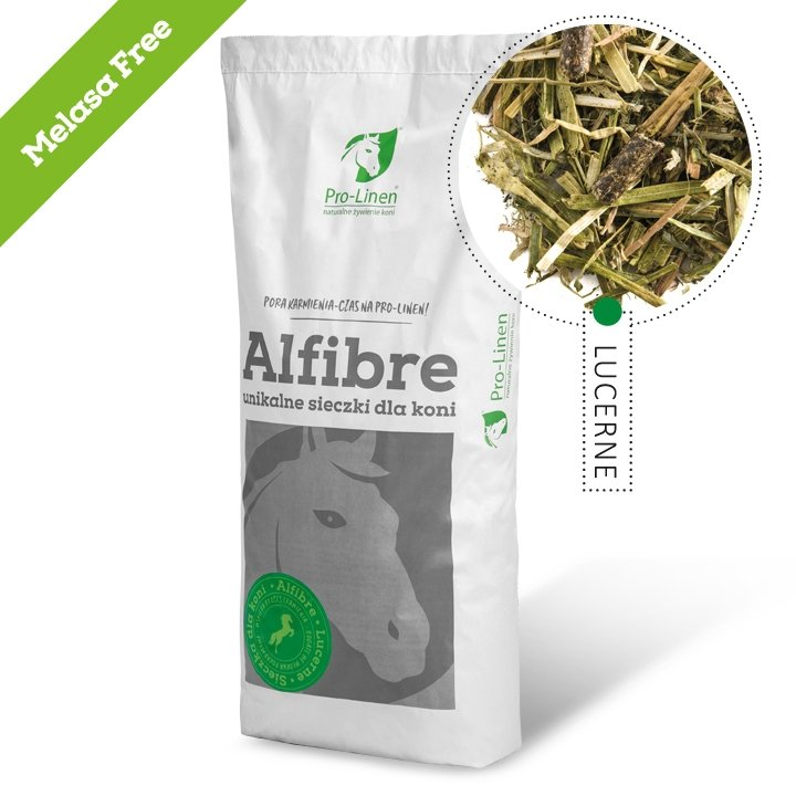 ALFIBRE LUCERNE MELASA FREE  15kg (sieczka dla koni) Pro-linen