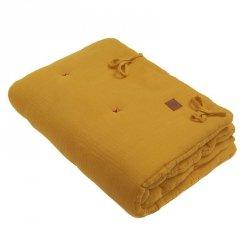 Kołderka z podusią i Rożek z oddychającej bawełny organicznej GOTS QUILT BABY HORN MUSTARD