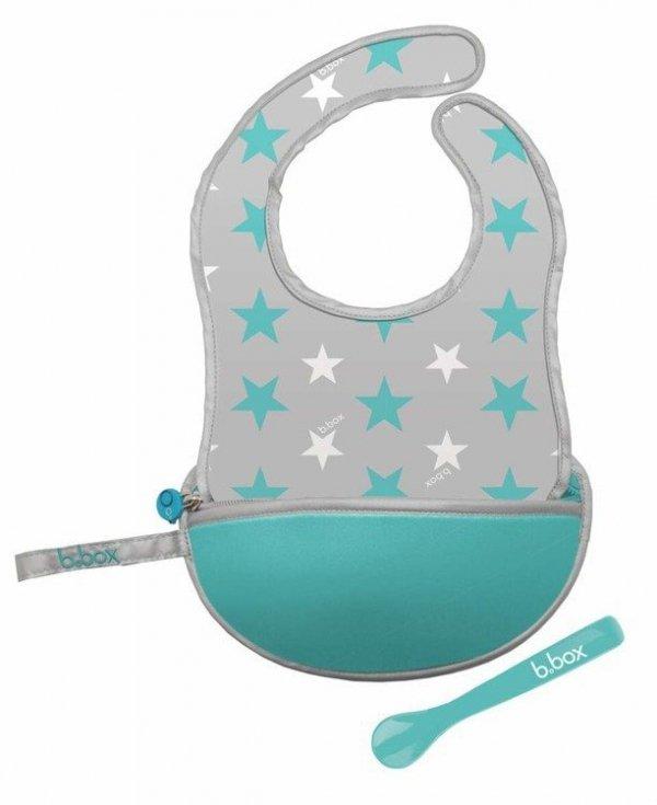 Śliniak dla niemowlaka w saszetce z łyżeczką, Star Burst