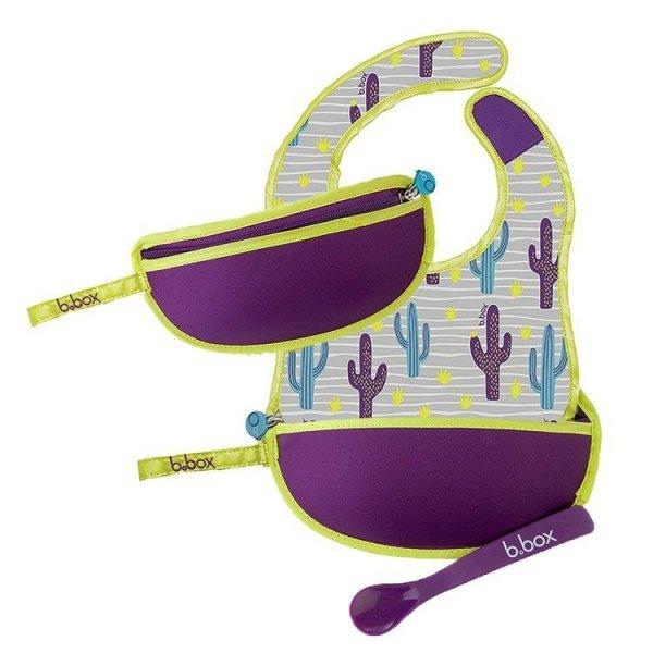Śliniak dla niemowlaka w saszetce z łyżeczką, Cactus Capers