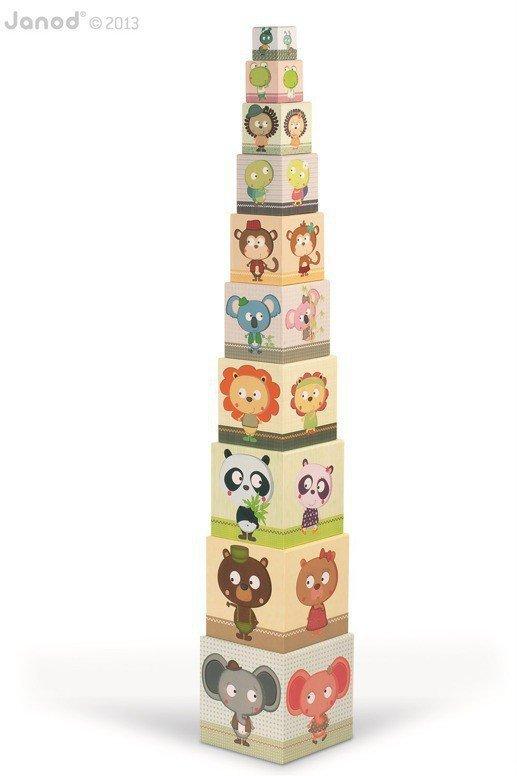 Piramida wieża 10 kostek Zwierzęta