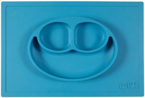 Silikonowy talerzyk z podkładką 2w1 Happy Mat niebieski