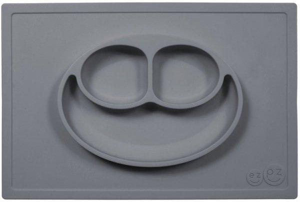 Silikonowy talerzyk z podkładką 2w1 Happy Mat szary