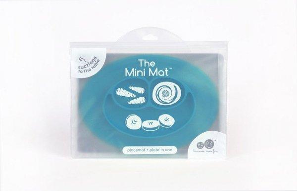 Silikonowy talerzyk z podkładką mały 2w1 Mini Mat niebieski