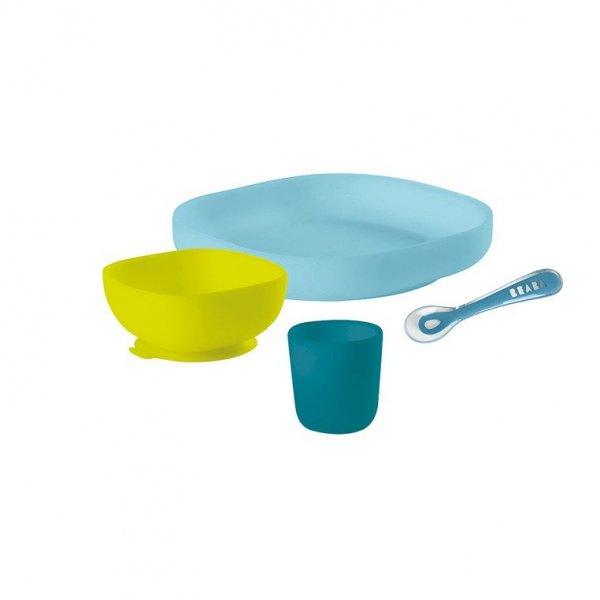 Komplet naczyń z silikonu z przyssawką blue