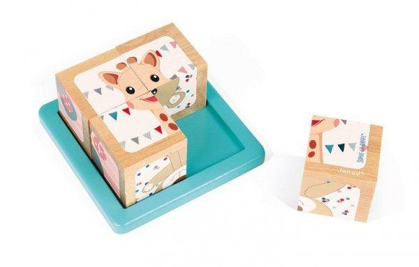 Klocki drewniane Puzzle 6w1 Żyrafka Sophie