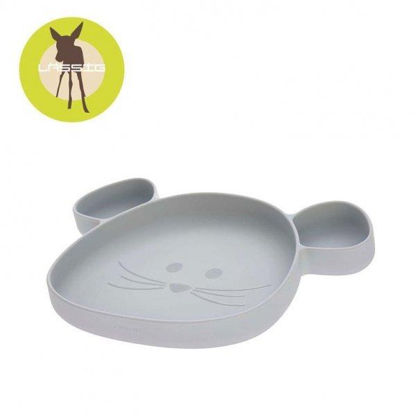 Talerz silikonowy z przyssawką Little Chums Mysz szary