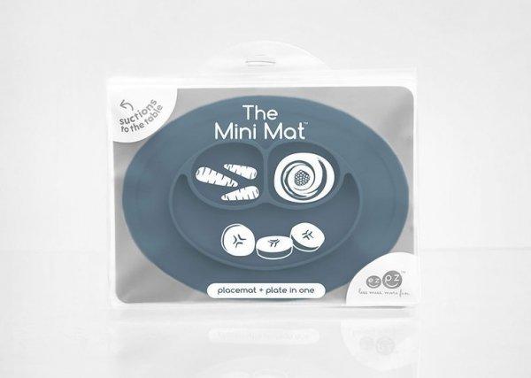 Silikonowy talerzyk z podkładką mały 2w1 Mini Mat ciemny niebieski