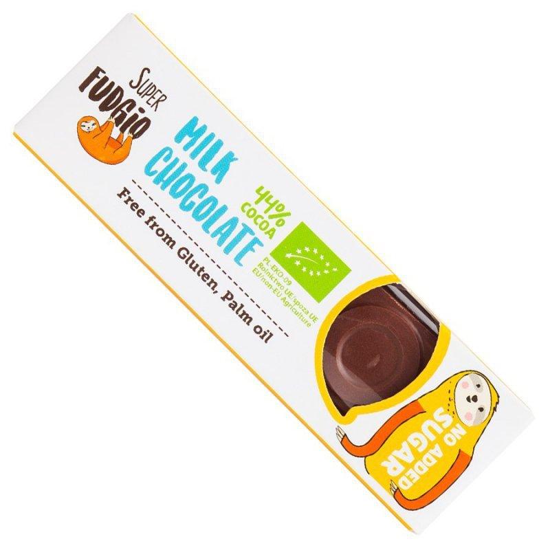 Czekoladowy baton mleczny bez dodatku cukru Super Fudgio BIO, 40g