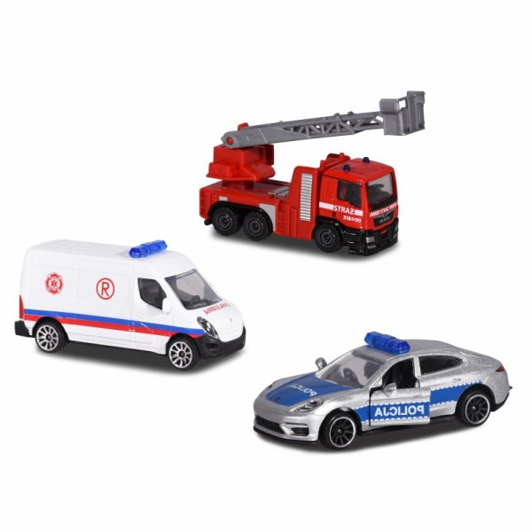 MAJORETTE Pojazdy Samochodziki Ratunkowe SOS 3 szt