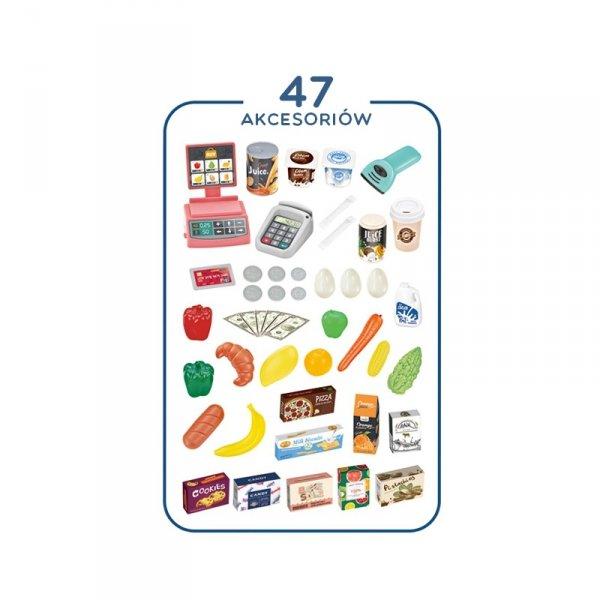WOOPIE Sklep Supermarket i Wózek Koszyk Sklepowy Kasa Waga Skaner 47 akc