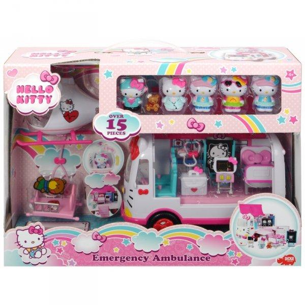 DICKIE Hello Kitty Ambulans Ratunkowy Figurki Helikopter