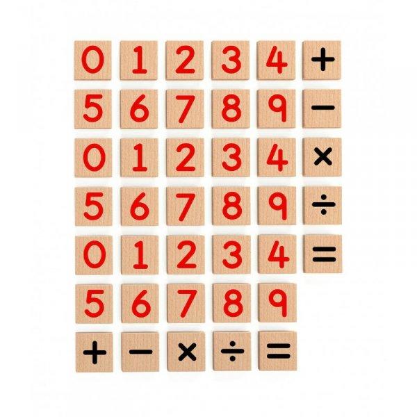 Zestaw Drewnianych Magnetycznych Cyferek 40 elementów VIGA