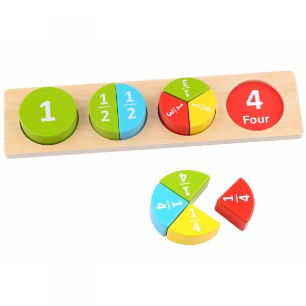 TOOKY TOY Drewniane Puzzle Edukacyjne Okrągłe Nauka Ułamków Matematyki