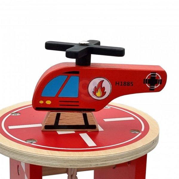 TOOKY TOY Drewniany Garaż Parking Lądowisko Stacja Benzynowa + AUTKA i HELIKOPTER